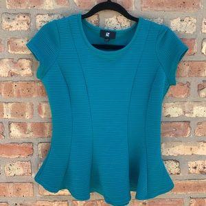 IZ BYER Peplum Ribbed Teal Top blouse